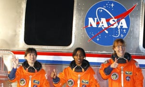 Space shuttle Discovery's three female astronauts Dorothy Metcalf-Lindenburger, Stephanie Wilson, and Japan Space Agency astronaut Naoko Yamazaki in 2010.