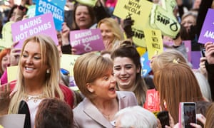 SNP leader Nicola Sturgeon in Glasgow launching the party's commitments to gender equality.