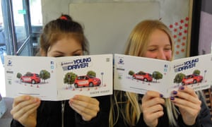 Go girls: Mary and Vita read their drive diaries.