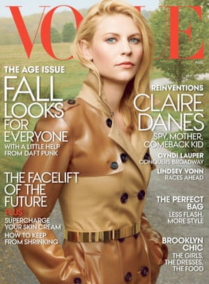 Claire Danes on the cover of Vogue, August 2013.