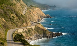 C1459K California Highway One winds along the Big Sur coastline. Near Monterey County mile marker 20.00.