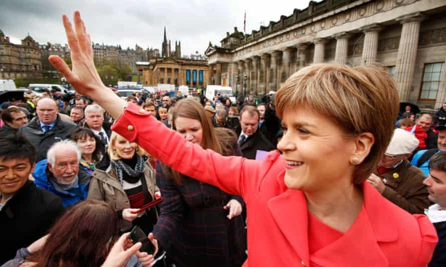 The SNP leader, Nicola Sturgeon, campaigns in Edinburgh on Wednesday.