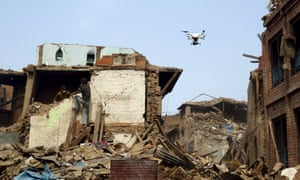 A drone flies over buildings destroyed after last week's earthquake in Bhaktapur, Nepal, May 2, 2015.
