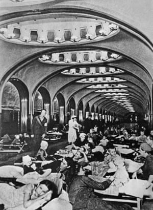 Peoplwe shelter in the underground hall of Mayakovskaya Moscow metro station, October 1941