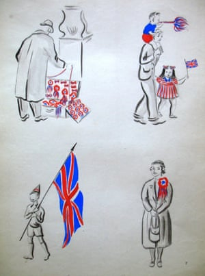 There were souvenir sellers everywhere. Children were happy, boys waved flags. Old ladies smile<br>Drawing: Janet Smith Salabelle