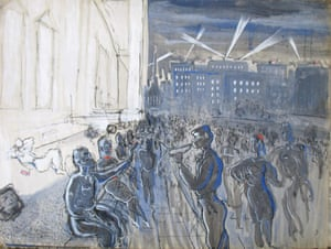 Partying outside the National Gallery<br>Drawing: Desmond Knox-Leet