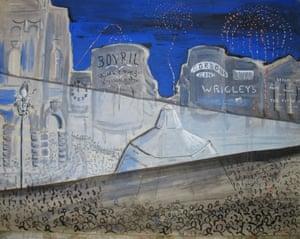 Eros sandbagged in Picadilly Circus. Saw Noel Coward in the crowd<br>Drawing: Desmond Knox-Leet
