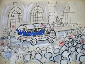 George St, returning prisoners of war in hospital uniform Drawing: Desmond Knox-Leet