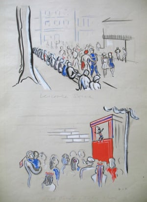 People milling in Leicester Square, and 'First Punch &amp; Judy'<br>Drawing: Janet Smith Salabelle