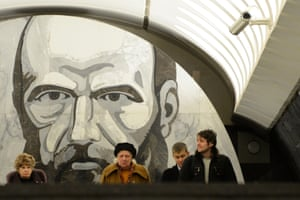 The Dostoyevskaya metro station with a mural of Russian writer Fyodor Dostoyevsky