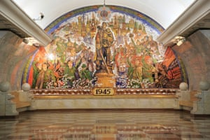 Wall mosaic celebrating the victory in 1945, in Park Pobedy metro station