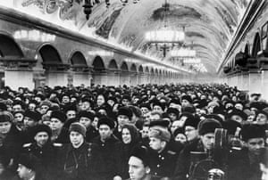 Crowds at the Komsomolskaya-Ring station of the Moscow Metro, to mark the opening of a new section. All 39 stations have works of architecture and fine arts