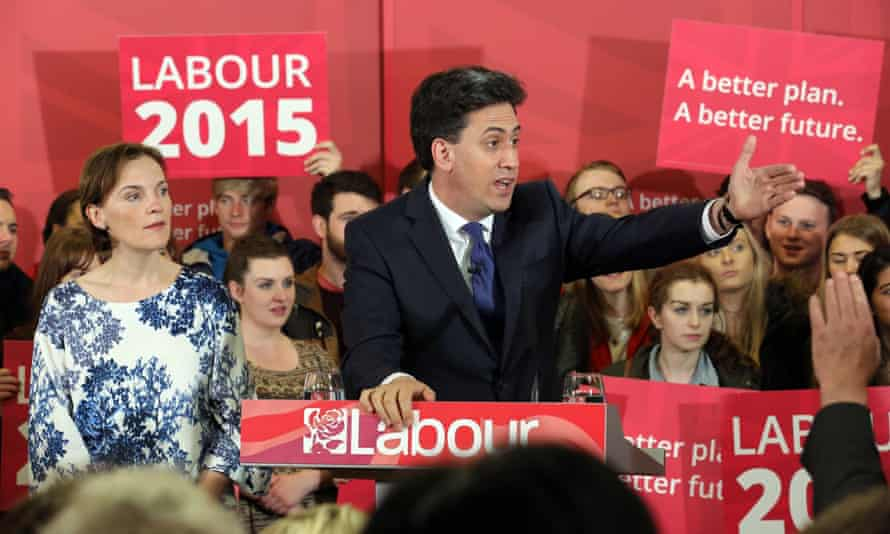 On the last day of campaigning, Ed Miliband alongside his wife, Justine, addresses Labour party supporters in Pudsey, Yorkshire.