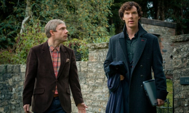 Benedict Cumberbatch with Martin Freeman in BBC1's Sherlock.