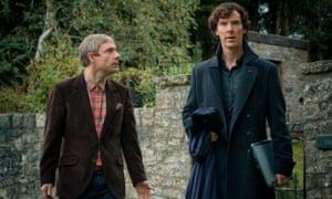 Benedict Cumberbatch with Martin Freeman in BBC1's Sherlock.
