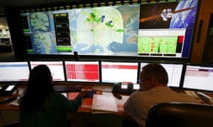 Staff working at satellite communications company Inmarsat in London.
