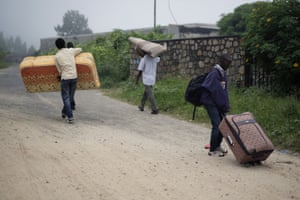 Students leave the Kiriki University campus in Bujumbura as the unrest continues in Burundi