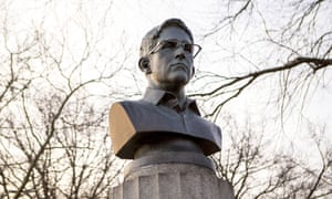 A cement likeness of Edward Snowden was placed atop a monument to the American War of Independence. The artists responsible may seek permission to exhibit it legally.