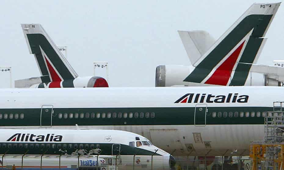 Alitalia aircraft parked on the tarmac at Rome's Fiumicino airport in a file picture. The airport has closed after a fire in a baggage area.