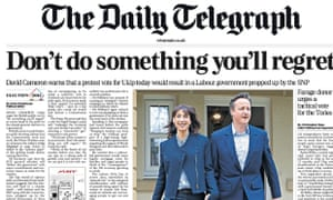 The Daily Telegraph's front page tells readers: 'Don't do something you'll regret'