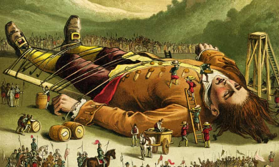Print from 1860s edition of Gulliver's Travels, published by Nelson & Sons.