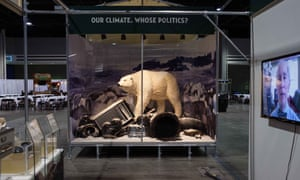 Re-creation of diorama from a 2009 climate change exhibition at NY's American Museum of Natural History (AMNH), this time with an oil pipeline attributed to Koch Industries, a company co-owned by AMNH board member and exhibit sponsor David H. Koch.