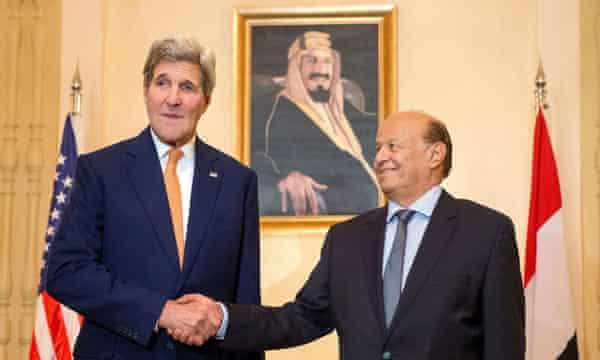 John Kerry shakes hands with Yemen's exiled president Abd-Rabbu Mansour Hadi in Riyadh.