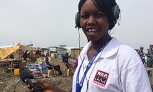 Julia Paulo Ding reporting for Nile FM in Malakal's Protection of Civilians site.