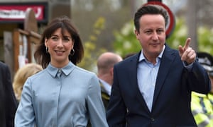 David and Cameron and his wife arrive to vote on 7 May 2015.