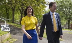 Nick Clegg arrives to vote with his wife Miriam Gonzalez Durantez on 7 May 2015.