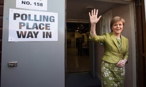 Nicola Sturgeon after casting her vote on 7 May 2015.