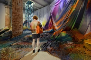 Arsenale: Katharina Grosse: Untitled Trumpet, 2015. acrylic on fabric, soil and aluminium debrisV