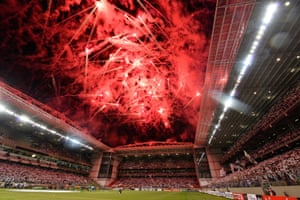 The firework display before the match between Atlético Mineiro and Internacional as part of the Copa Libertadores at Independencia Stadium in Belo Horizonte, Brazil.