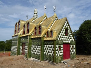 View of the north porch entrance from the pedestrian footpath. Photograph: Grayson Perry/FAT Architecture