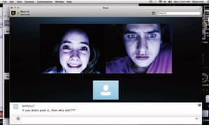 Shelley Hennig and Moses Jacob Storm in Unfriended.