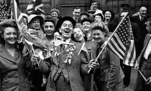 Crowds celebrating VE day in London on 8 May 1945