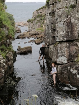 Maddy and Kevin explore a the opening of a gorge at Applecross.