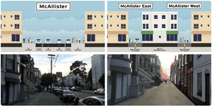 Narrowing one block of San Francisco sidewalks could free up 45,000 sq ft for new housing.