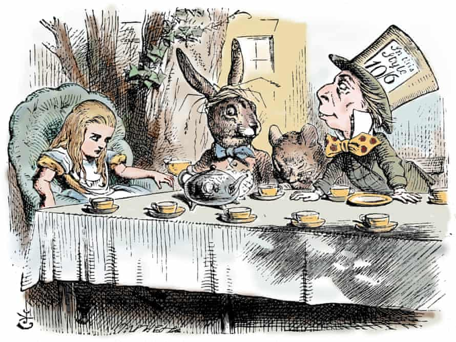 The Mad Hatter's tea party, by Tenniel.