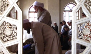 Muslims pray at the mosque in Dushanbe. Tajikistan