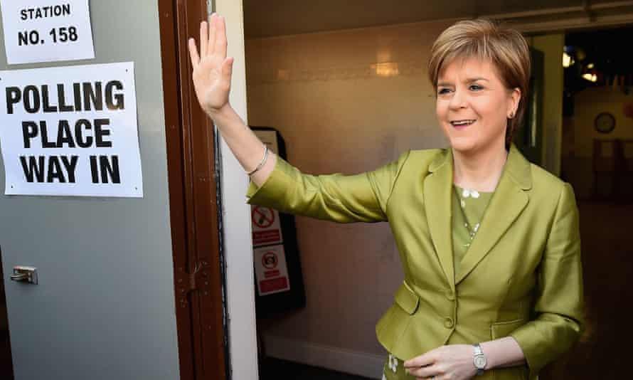 Nicola Sturgeon votes in Glasgow,