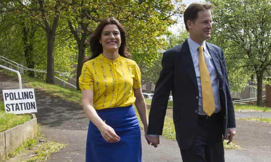 Liberal Democrat leader Nick Clegg and his wife Miriam Gonzalez Durantez arrive to vote at the Hall Park Centre in Sheffield,
