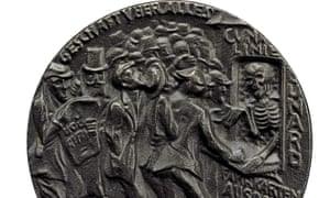 A German 1915 medal depicts death selling tickets for the Lusitania