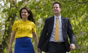 Liberal Democrat  leader Nick Clegg and his wife Miriam Gonzalez Durantez arrive to vote at the Hall Park Centre in Sheffield, England,