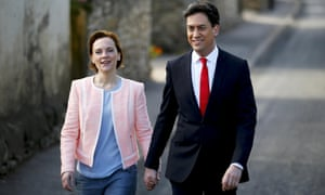 Labour party leader Ed Miliband arrives to vote with his wife Justine in Doncaster