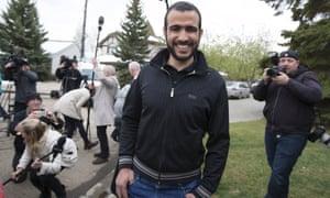 Omar Khadr after being released on bail in Edmonton, Alberta.