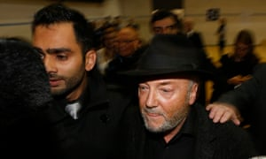 George Galloway, right, arrives for the count in Bradford. His Labour rival, mental health campaigner Naz Shah, won Bradford West with a majority of 11,420.