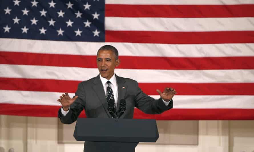 President Barack Obama on stage.