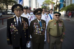Second world war veterans take part in a parade marking Victory day in Ashdod, Israel