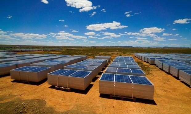 Solar panels in the Karoo semi-desert near Hanover, Northern Cape, South Africa.